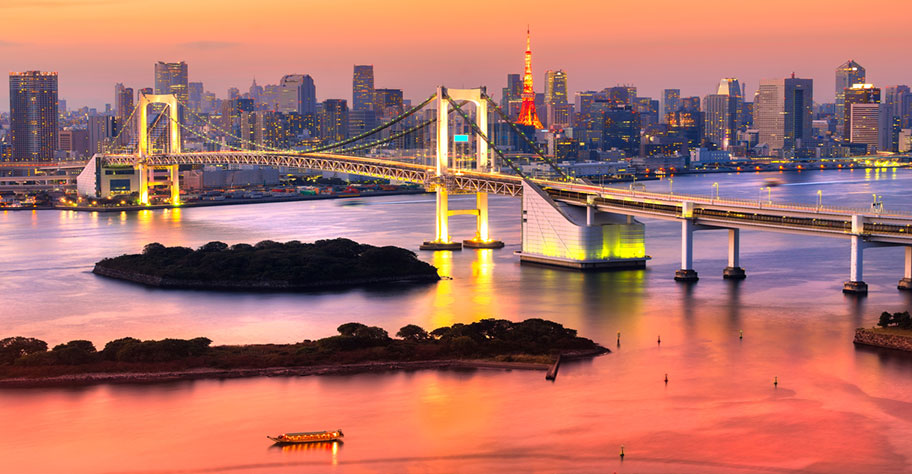 Tokyo Skiline Aussicht Brücke